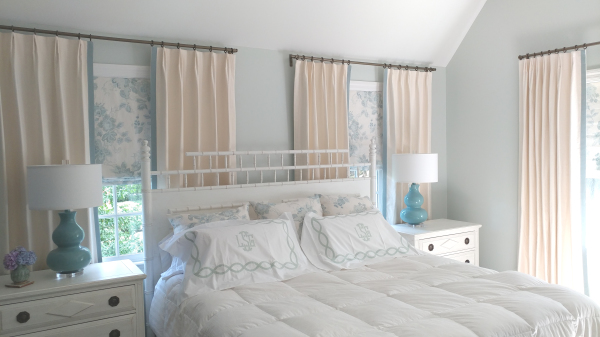Bart Halpern fabric, waterfall fabric, white linen fabric, Sheer white linen fabric, Sheer lining, Custom bed, upholstered bed, Fabricut Natural Linen fabric, Nashville, TN, Designs by Melinda, West Meade, Drapery Workroom